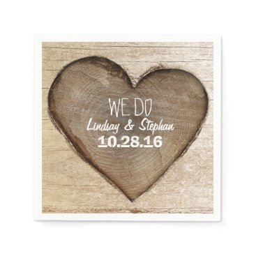 Valentines Themed Carved Wood Heart Rustic Wedding Napkin