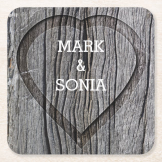 Carved Wood Heart Rustic Wedding Square Paper Coaster