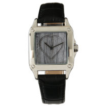 Carved Wood Heart Rustic Wedding Wristwatch