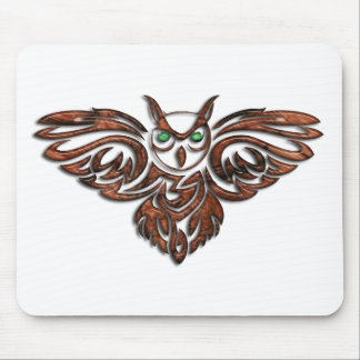 Carved Wood Horned Owl Mouse Pad