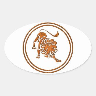 Carved Wood Leo Zodiac Symbol Oval Sticker
