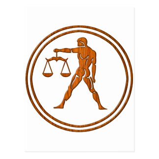 Carved Wood Libra Zodiac Symbol Postcard