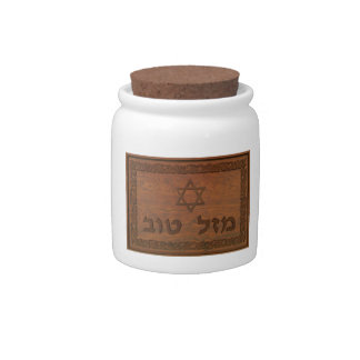 Carved Wood Mazel Tov Candy Jars