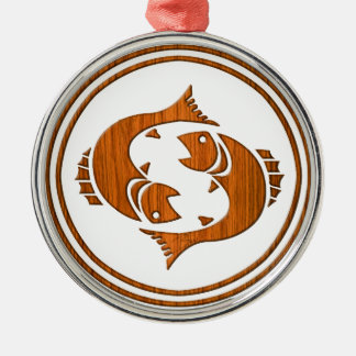 Carved Wood Pisces Zodiac Symbol Metal Ornament