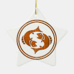 Carved Wood Pisces Zodiac Symbol Christmas Tree Ornament