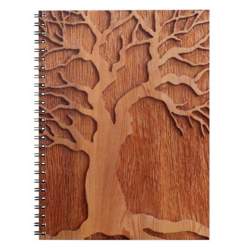 Carved Wood Planner Spiral Note Book