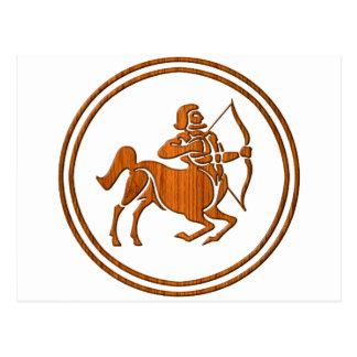 Carved Wood Sagittarius Zodiac Symbol Postcard