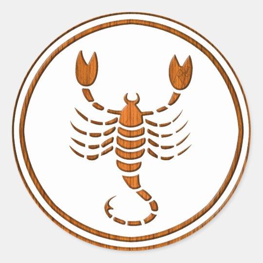 Carved Wood Scorpio Zodiac Symbol Classic Round Sticker