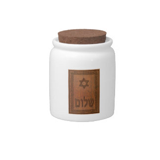 Carved Wood Shalom Candy Jars
