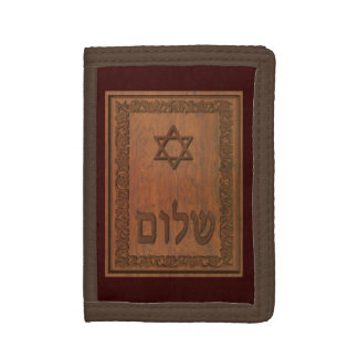 Carved Wood Shalom Tri-fold Wallet