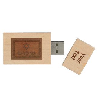 Carved Wood Shalom Wood Flash Drive