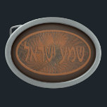 """Carved Wood Shema Yisrael Belt Buckle<br><div class=""""desc"""">A digital rendering of Hebrew text reading &quot;Shema Yisrael&quot; (Hear O Israel!) on a &quot;carved&quot; wooden fractal background pattern. &quot;Shema Yisrael&quot; are the first words of the most important Jewish prayer. The first verse encapsulates the monotheistic essence of Judaism: &quot;Hear, O Israel: the Lord is our God, the Lord is...</div>"""