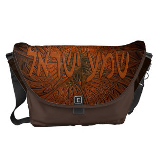 Carved Wood Shema Yisrael Courier Bag