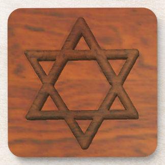 Carved Wood Star Of David Beverage Coasters