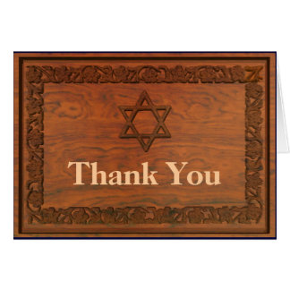 Carved Wood Star Of David Greeting Card