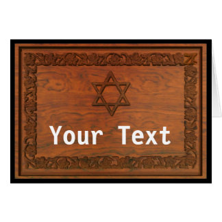 Carved Wood Star Of David Card