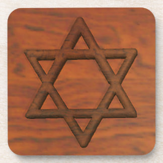 Carved Wood Star Of David Coaster