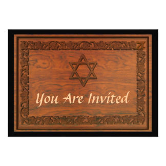 Carved Wood Star Of David Personalized Invite