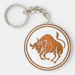 Carved Wood Taurus Zodiac Symbol Key Chain