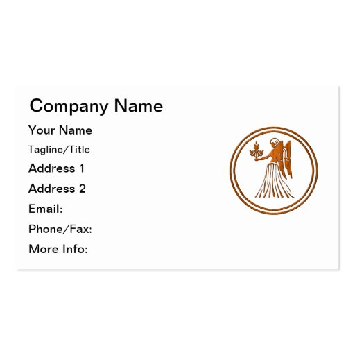 Carved Wood Virgo Zodiac Symbol Double-Sided Standard Business Cards (Pack Of 100)