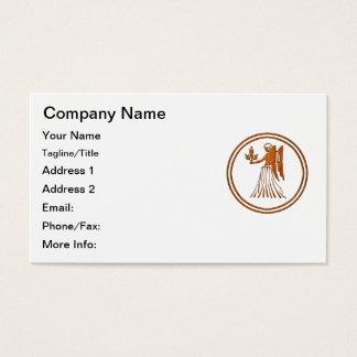 Carved Wood Virgo Zodiac Symbol Business Card