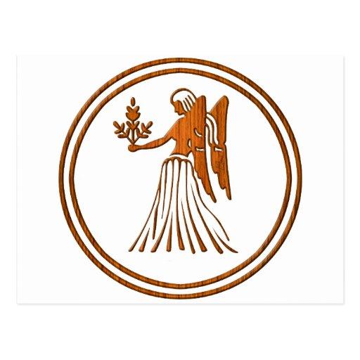 Carved Wood Virgo Zodiac Symbol Postcard