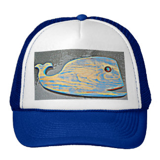 carved wood whale hat