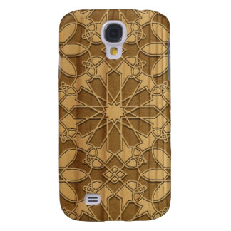 Carved wooden arabic pattern galaxy s4 cover