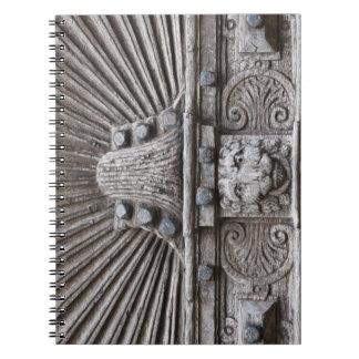Carved Wooden Door Look Spiral Notebook