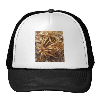 carved wooden flowers trucker hat