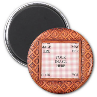 Carved Wooden Frame Template 2 Inch Round Magnet