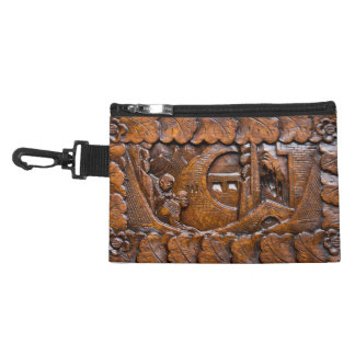 Carved wooden oriental look accessory bags