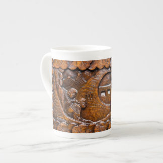 Carved wooden oriental look bone china mugs