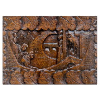 Carved wooden oriental look cutting board