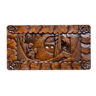 Carved wooden oriental look shipping label