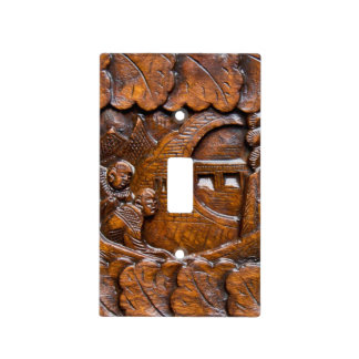 Carved wooden oriental look light switch covers
