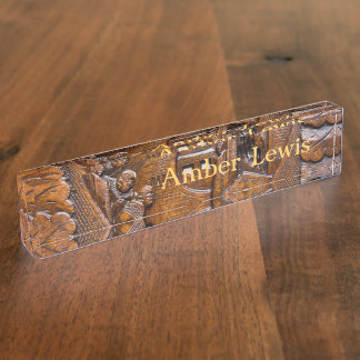 Carved wooden oriental look nameplate