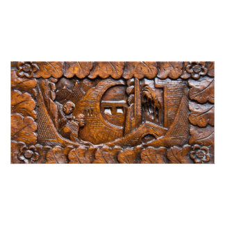 Carved wooden oriental look customized photo card