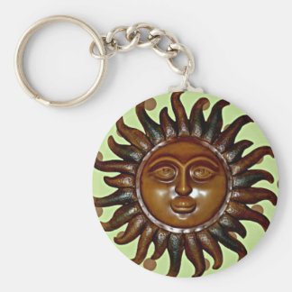 Carved Wooden Sun on Green Polka Dot Background Keychain