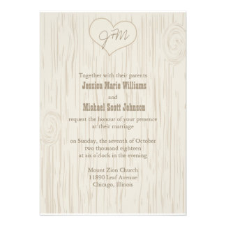 Carved Wooden Wedding Personalized Invite