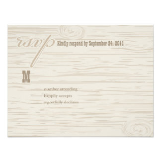 Carved Wooden Wedding RSVP Announcement