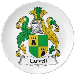 Carvell Family Crest Porcelain Plates