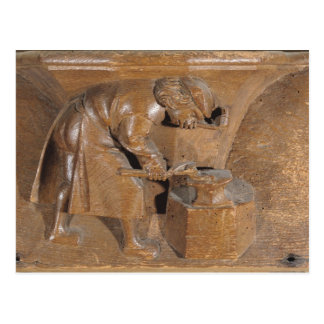 Carving depicting a coppersmith postcard