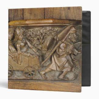 Carving depicting a couple in cart pulled by a 3 ring binder