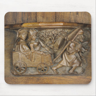 Carving depicting a couple in cart pulled by a mouse pad