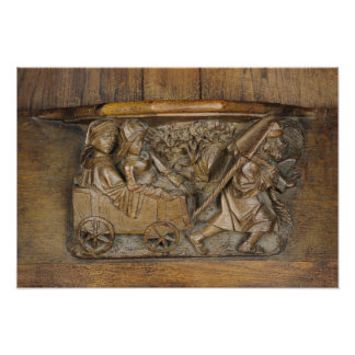 Carving depicting a couple in cart pulled by a poster