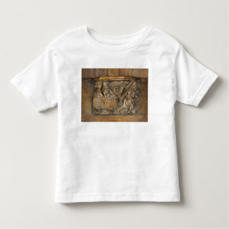 Carving depicting a couple in cart pulled by a t shirt