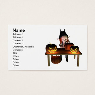 Carving Halloween Pumpkin Lanterns Business Card