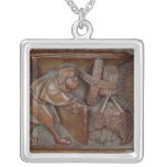 Carving of a miller, from a choir stall square pendant necklace