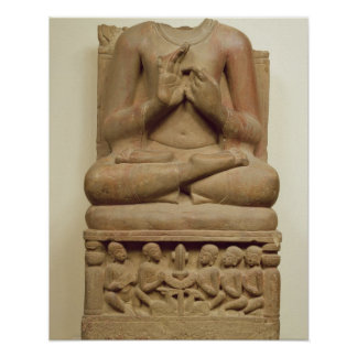 Carving of Buddha in the attitude of preaching a s Poster
